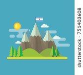 mountain landscape flat design... | Shutterstock .eps vector #751403608