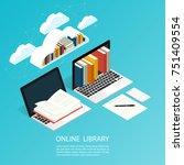 online library file isometric... | Shutterstock .eps vector #751409554
