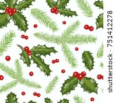 vector christmas seamless... | Shutterstock .eps vector #751412278