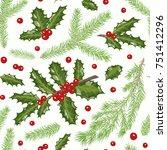 vector christmas seamless... | Shutterstock .eps vector #751412296