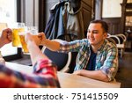 three young men in casual... | Shutterstock . vector #751415509