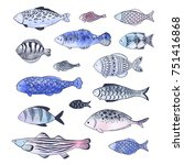 collection of doodle fishes... | Shutterstock .eps vector #751416868