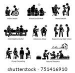 social workers stick figure... | Shutterstock . vector #751416910