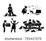 crazy cat lady stick figure... | Shutterstock .eps vector #751417273