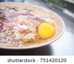 marinated pork with egg | Shutterstock . vector #751420120