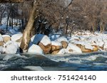 river in late autumn. a... | Shutterstock . vector #751424140