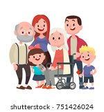 happy big family. grandmother... | Shutterstock . vector #751426024