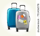 wheeled plastic suitcases with... | Shutterstock .eps vector #751436578