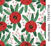 seamless pattern with red... | Shutterstock .eps vector #751437748