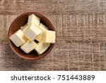 bowl with cubes of butter on... | Shutterstock . vector #751443889