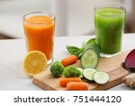 glasses with various fresh... | Shutterstock . vector #751444120