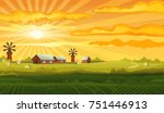 Farm Panorama Vector Backgroun...