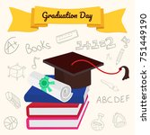 graduation day background with... | Shutterstock .eps vector #751449190