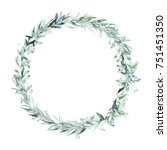 watercolor leaves wreath. hand... | Shutterstock . vector #751451350