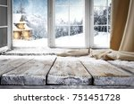 wooden table with space for... | Shutterstock . vector #751451728