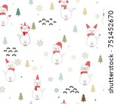 seamless christmas pattern with ... | Shutterstock .eps vector #751452670