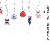 hand drawn seamless horizontal...   Shutterstock .eps vector #751455364