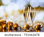 two champagne glasses against... | Shutterstock . vector #751462678