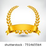 golden wreath with ribbon... | Shutterstock .eps vector #751465564