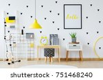 cactus on white cabinet next to ... | Shutterstock . vector #751468240