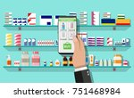 hand with smartphone with... | Shutterstock . vector #751468984