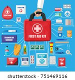 first aid kit with medical... | Shutterstock . vector #751469116