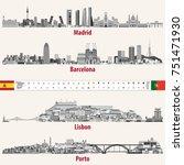vector skylines of madrid ... | Shutterstock .eps vector #751471930