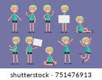 set of female character in... | Shutterstock .eps vector #751476913