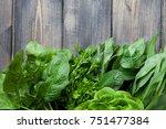 fresh herbs  dill  parsley ... | Shutterstock . vector #751477384