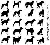 silhouette of a black dog on a... | Shutterstock .eps vector #751486744