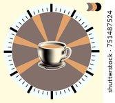 cup of coffee with milk. clock...   Shutterstock . vector #751487524