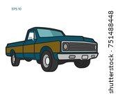 vintage pickup truck vector... | Shutterstock .eps vector #751488448
