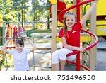kids on playground | Shutterstock . vector #751496950