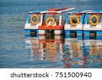 colorful boats floating on the... | Shutterstock . vector #751500940