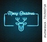 merry christmas typography neon ... | Shutterstock .eps vector #751503718