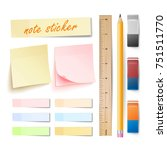 Post Note Sticker Vector. Isolated Set. Memory Pads Colorful. Office Color Post Sticks. Eraser, Pencil, Measuring Ruler. Realistic Illustration