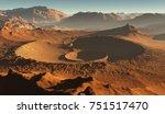 Sunset on Mars. Martian landscape, impact craters on Mars. 3D illustration