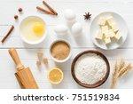 baking ingredients flour  wheat ... | Shutterstock . vector #751519834