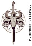 vector emblem with a skull of a ... | Shutterstock .eps vector #751524130