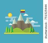 mountain landscape flat design... | Shutterstock .eps vector #751525444