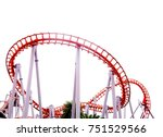 Roller Coaster On White...