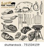 pork meat. meat collages. meat... | Shutterstock .eps vector #751534159