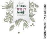 hand drawn herbs and spices... | Shutterstock .eps vector #751538080