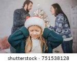 sad  desperate little girl...   Shutterstock . vector #751538128