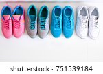 a sporty girl in jeans chooses... | Shutterstock . vector #751539184