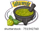 salsa verde   traditional green ... | Shutterstock .eps vector #751542760