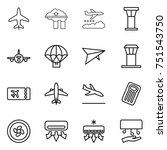 thin line icon set   plane ... | Shutterstock .eps vector #751543750