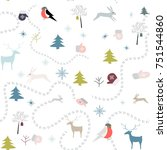 winter pattern seamless. vector ... | Shutterstock .eps vector #751544860