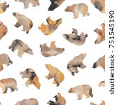 seamless pattern with bears.   Shutterstock . vector #751545190