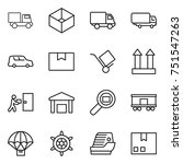 thin line icon set   truck  box ... | Shutterstock .eps vector #751547263